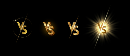 Set of golden shining versus logo on black background. VS logo for games, battle, match, sports or fight competition, Game concept of rivalry. VS. Vector illustration. 矢量图像