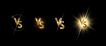 Set of golden shining versus logo on black background. VS logo for games, battle, match, sports or fight competition, Game concept of rivalry. VS. Vector illustration. Ilustração