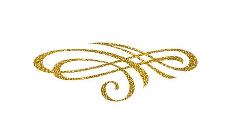 Glitter gold flourish element. Ornamental design element. Page decor. Vector illustration.