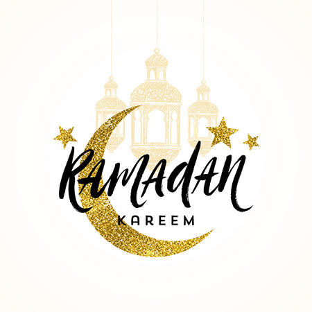Ramadan Kareem greeting card - Brush calligraphy greeting, glitter gold moon, stars and  hand drawn lanterns. Vector illustration.