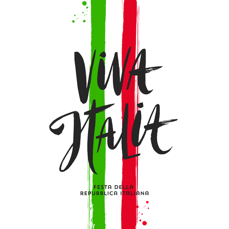 Italian republic day hand drawn vector illustration. Brush lettering greeting and brushstrokes in color of Italian national flag.