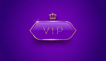 Vip glass label with golden crown and frame on a violet pattern background. Premium design. Luxury template design. Vector illustration.