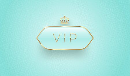 Vip glass label with golden crown and frame on a turquoise pattern background. Premium design. Luxury template design. Vector illustration.