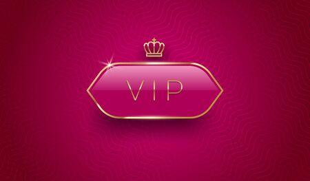 Vip glass label with golden crown and frame on a burgundy color pattern background. Premium design. Luxury template design. Vector illustration. Illustration