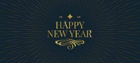 Happy New Year greeting design. Glitter gold greetings with flourishes element and rays of shining on dark background. Vector illustration. New Year holidays design.