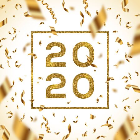 New year 2020 vector illustration. Glitter gold numbers of a year with frame and golden foil confetti. Иллюстрация