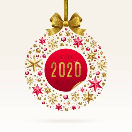 2020 New year greeting illustration. Abstract holidays bauble made from stars, ruby gems golden snowflakes, beads and glitter gold bow ribbon. Иллюстрация