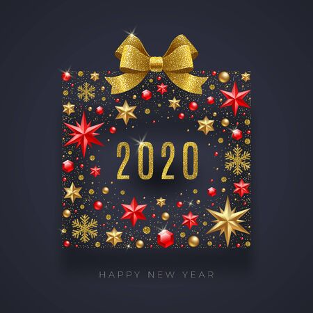 New Year 2020 greeting illustration. Abstract gift box made from stars, ruby gems, golden snowflakes, beads and glitter gold bow ribbon. Иллюстрация