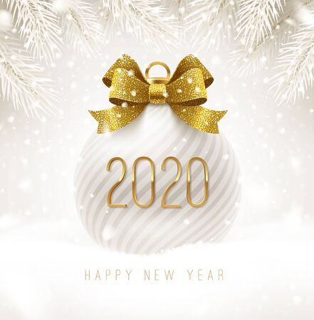 Holiday white bauble with glitter gold bow ribbon and New year 2020 number. Christmas ball on a snow. Vector illustration.
