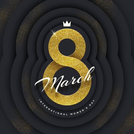 8 March International womens day greeting card - shining glitter gold ribbon in the shape of sign eight on a black paper layered background with golden halftone. Vector illustration.