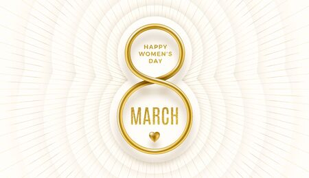 8 March International womens day vector illustration - Golden number eight and glitter gold greeting on a white paper layered background with light burst rays. Design for greeting card or invitation.
