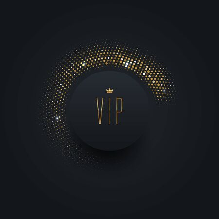Vip black label with golden crown on a black  background with shining golden halftone. Premium design. Luxury template design. Vector illustration.