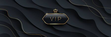Vip black glass label with golden crown and frame on a black abstract layered  background. Premium design. Luxury template design. Vector illustration. Can be used for invitation, greeting, ticket flyer and etc.