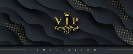 VIP invitation template - Glitter gold logo with crown and flourishes element  on abstract layered black background. Vector illustration. Can be used for invitation, greeting, ticket, flyer and etc. Illustration
