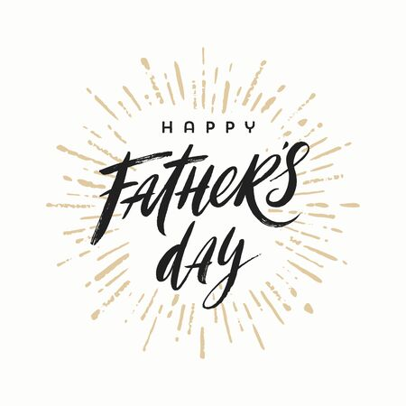 Happy fathers day brush calligraphy on a burst rays background, Lettering. Vector illustration.