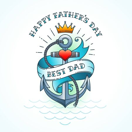 Happy fathers day greeting card, Classic tattoo style design. Vector illustration. Illustration