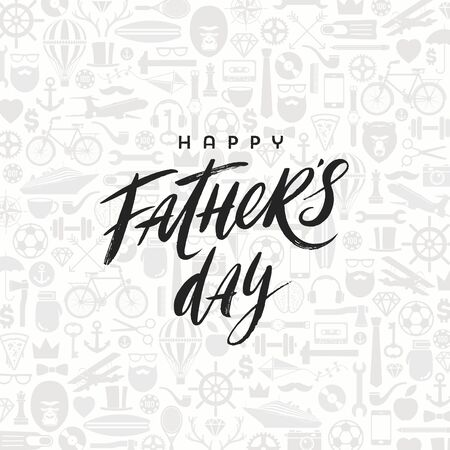 Happy fathers day greeting card with brush calligraphy, Lettering on a pattern background. Vector illustration. Illustration
