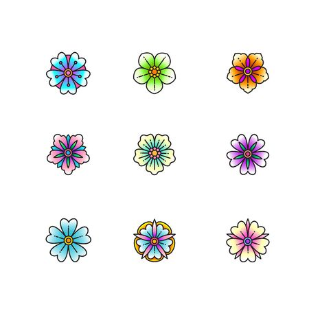 Set of classic tattoo style flowers. Vector illustration.