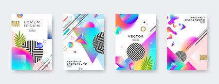 Set of Vector abstract cover design with multicolored gradient, geometric, linear, stipple and fluid shapes. Illustration