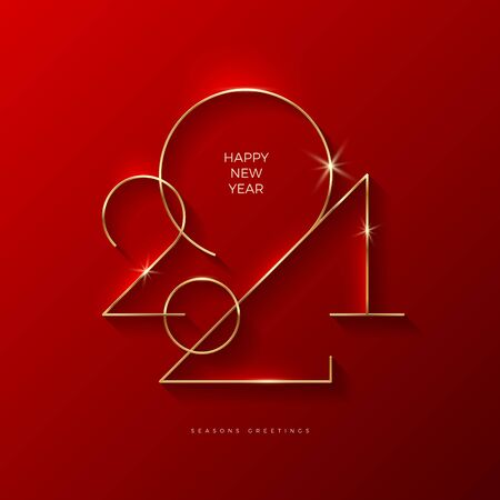 Golden 2021 New Year . Holiday greeting card. Vector illustration. Holiday design for greeting card, invitation, calendar, etc.