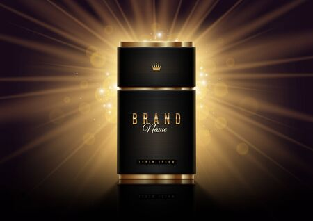 Black and gold perfume bottle template on a shinning light background. Premium design perfume. Vector illustration. Illustration