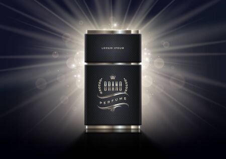 Black and silver perfume bottle template on a shinning light background. Premium design perfume. Vector illustration. Illustration