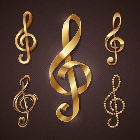 Set of golden decorative treble clef. Vector illustration.
