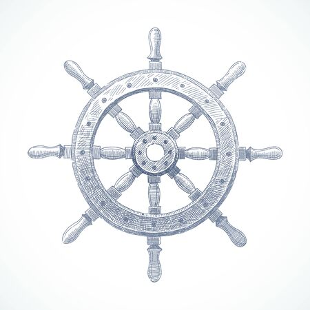Hand drawn vector illustration - ship steering wheel Vettoriali