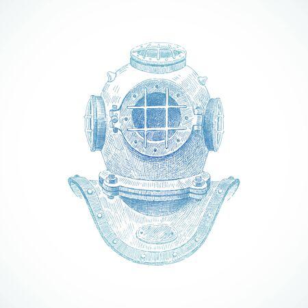Hand drawn vintage diving helmet - vector illustration