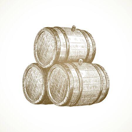 Hand drawn wooden barrels on vintage paper background - vector illustration.