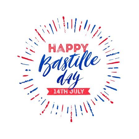 French national holiday - Bastille day. Brush calligraphy greeting and burst rays in color of France flag. Vector illustration. Vectores