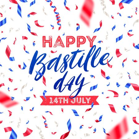 French national holiday - Bastille day. Brush calligraphy greeting and confetti in color of France flag. Vector illustration. Vectores