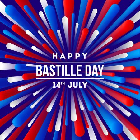 French national holiday - Bastille day. Greeting design with firework burst rays  in color of France flag.  Vector illustration.