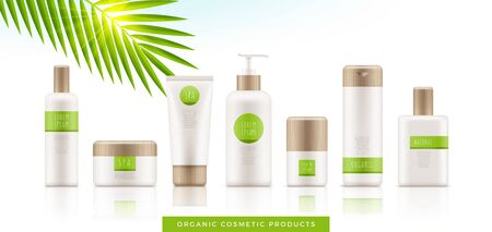 Set of white organic cosmetic packages with bamboo cap on white background. Template of plastic containers - tubes, bottles, jars for shampoo, body lotion, cream, milk, gel, perfume and soap. Vector. Illustration