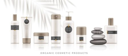 Set of white organic cosmetic packages with bamboo cap on white background. Template of plastic containers - tubes, bottles, jars for shampoo, body lotion, cream, milk, gel, perfume and soap. Vector.