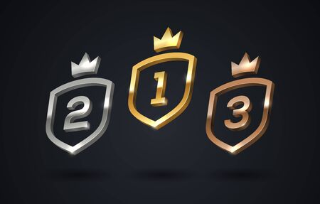 Set of rank emblems - gold, silver, bronze. Shield with rank number and crown. First place, second place and third place signs. Illustration