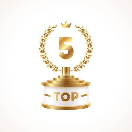 Top 5 award cup. Golden award trophy with laurel wreath and crown - isolated on white background. Illustration