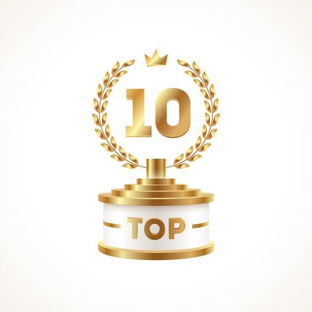 Top 10 award cup. Golden award trophy with laurel wreath and crown - isolated on white background. Illustration