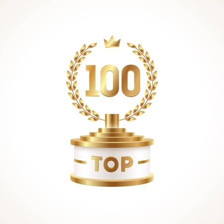 Top 100 award cup. Golden award trophy with laurel wreath and crown - isolated on white background. Vector illustration.