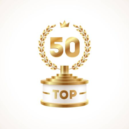 Top 50 award cup. Golden award trophy with laurel wreath and crown - isolated on white background. Vector illustration. Illustration
