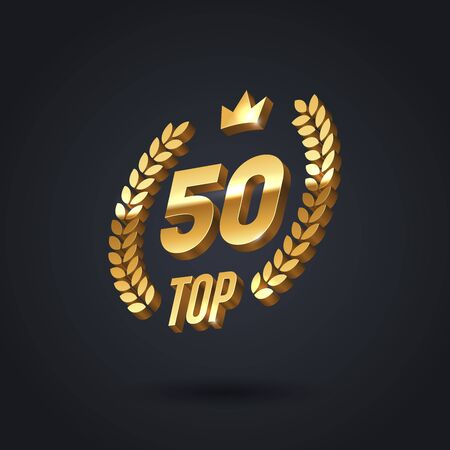 Top 50 award emblem. Golden award icon with laurel wreath and crown on black background. Vector illustration. 3d luxury top 50 sign.
