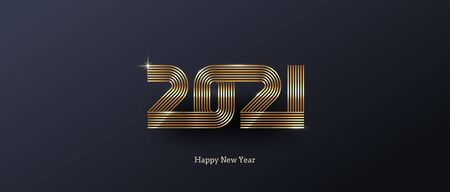 2021 new year icon. Greeting design with golden  number of year. Design for greeting card, invitation, calendar, etc. Illustration
