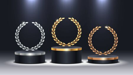 Stage podium with laurel wreath. Golden, silver and bronze stage podium in spot light. Stage podium for award ceremony. Vector illustration.
