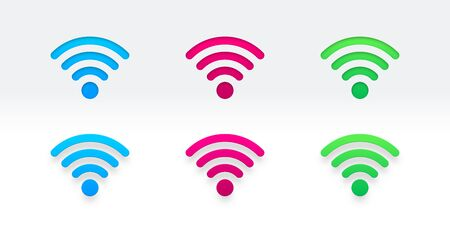 set of different color Wifi sign.