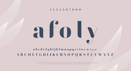 Elegant stylish font. Modern serif typeface. English alphabet. Set of letters - uppercase, lowercase and numbers. Illustration