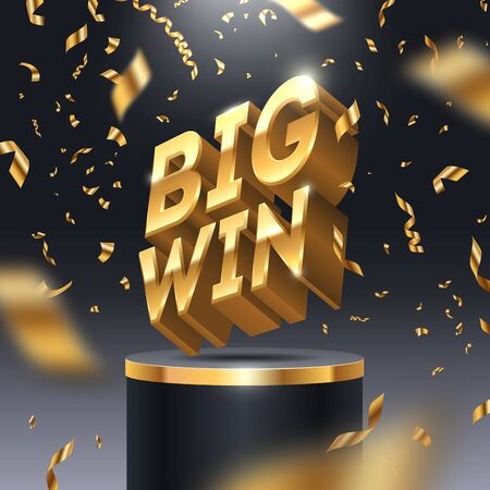 Big win golden sign on stage podium and golden confetti. 3d big win icon in spotlight on dark background.