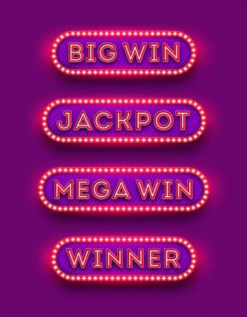 Big win, jackpot, mega win, winner - neon light retro signboard . Big win, jackpot, mega win, winner - light bulb frame signboard.