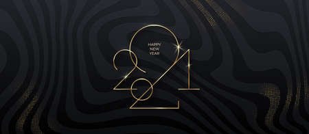 Golden 2021 New Year on black striped background with glitter gold. Holiday greeting card. Vector illustration. Holiday design for greeting card, invitation, calendar, etc.