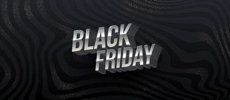 Black friday sale design. Metallic letters on a black abstract striped background. Vector illustration.