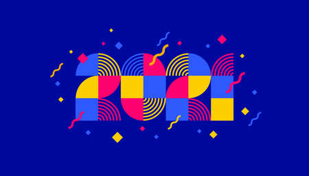 2021 new year composed from geometric shapes. Greeting design with multicolored number of year. Design for greeting card, invitation, calendar, etc. Illustration